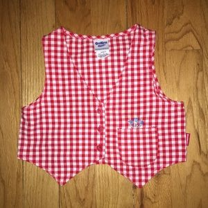 Girls size 5T red & white checked vest